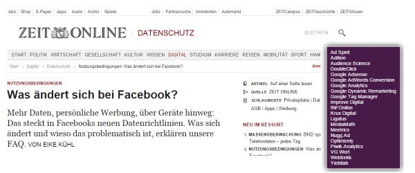 Screenshot zeit.de