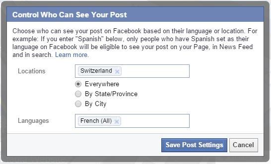Beschränkung der Sichtbarkeit eines Beitrages auf Nutzer aus der Schweiz mit Spracheinstellung Französisch