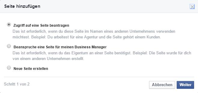 """Auswahlmöglichkeiten """"Seite hinzufügen"""" im Business Manager"""