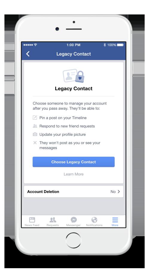 Legacy Kontakt hinzufügen (Quelle: Facebook)