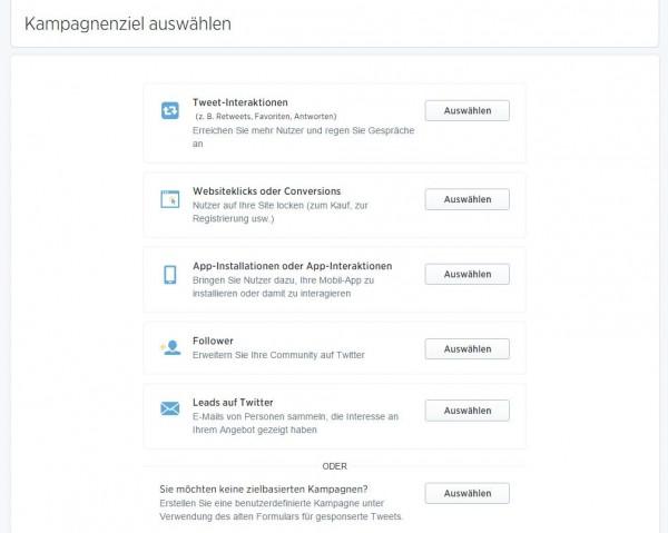 Twitter Ads Zielsetzungen