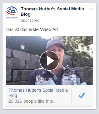 Page Like Ad mit Video im News Feed Mobile