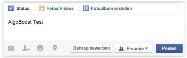 Ansicht AlgoCoins Boost Selektor Facebook Profil