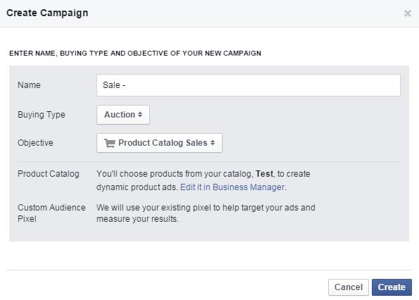 """Auswahl """"Product Catalog Sales"""" beim Erstellen einer neuen Kampagne"""