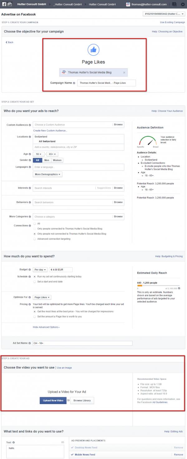 Page Like Ad Erstellung mit der Möglichkeit ein Video auszuwählen
