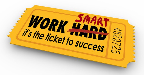 Work Smart Not Hard words on ticket to success in career, job or life copyright by shutterstock.com