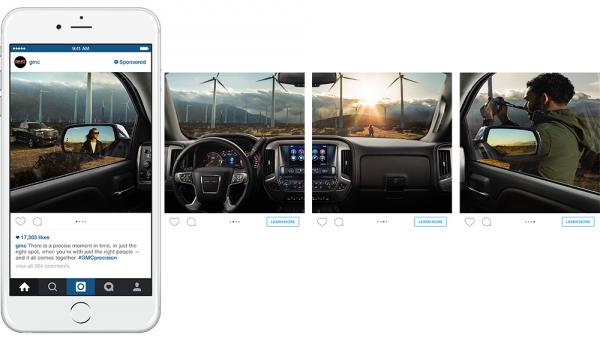 Beispiel von GMC in den USA mit der Panorama-Ansicht des neuen Sierra (Quelle: Instagram)