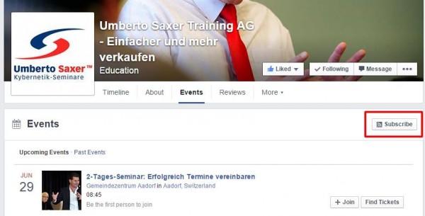 Abonnieren-Funktion auf dem Events-Tab einer Facebook Seite