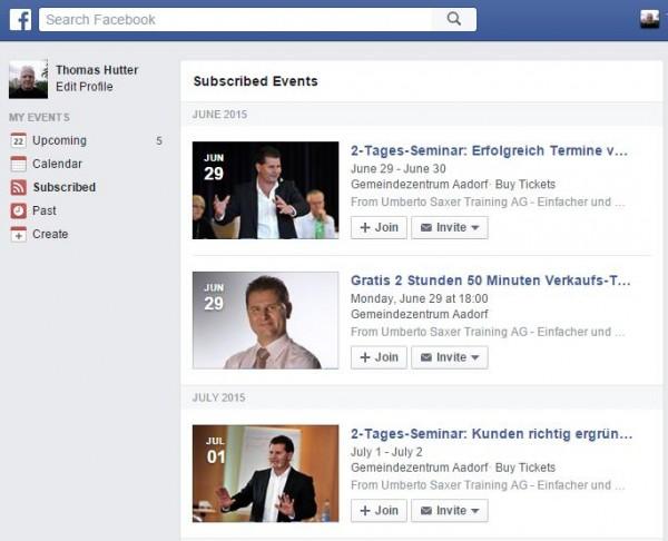 Abonnierte Veranstaltungen im Veranstaltungsbereich von Facebook