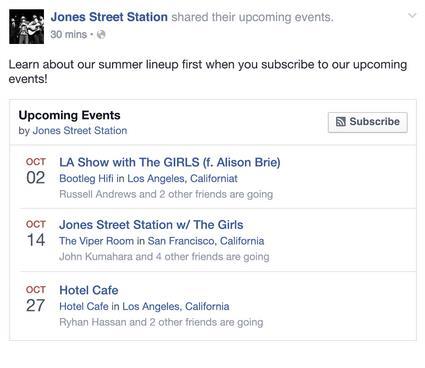Beitrag auf einer Facebook Seite mit Informationen zu den nächsten Veranstaltungen (Quelle: Facebook)