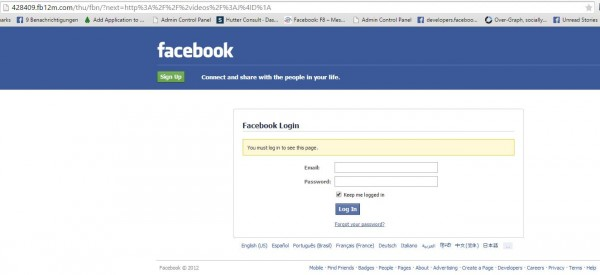 Gefakte Anmeldemaske von Facebook