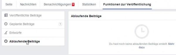"""Abgelaufene Beiträge in den """"Funktionen zur Veröffentlichung"""""""