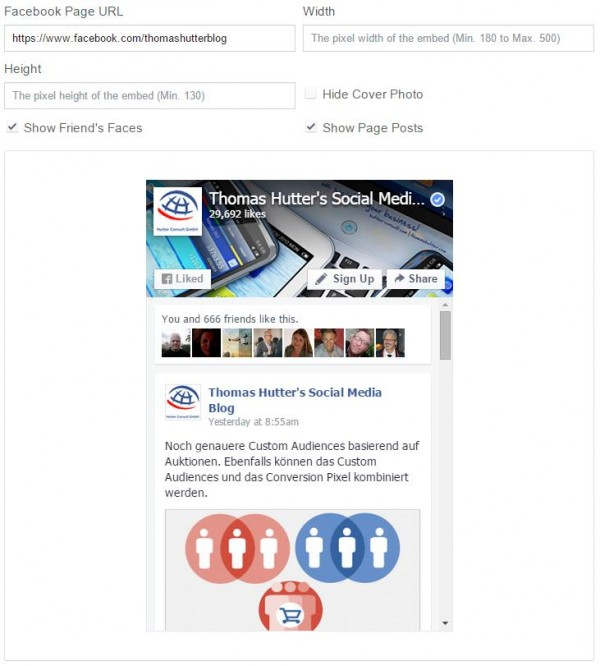 Ansicht des Page Plugins in developers.facebook.com