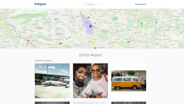 Instagram Ortsanzeige Zürich Flughafen