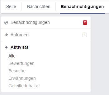 Aktivitäten in den Benachrichtigungen von Facebook Seiten