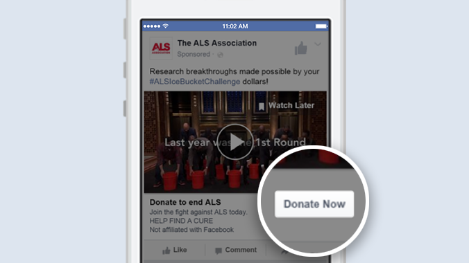 "Call to Action ""Donate now"" in Werbeanzeigen (Quelel: Facebook)"