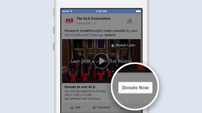 "Call to Action ""Donate now"" in Werbeanzeigen (Quelel: Facebook)"