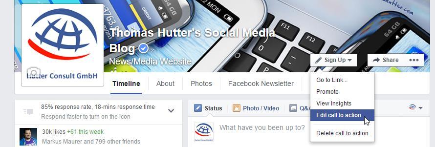 Editieren des Call to Action Buttons auf Facebook Seiten