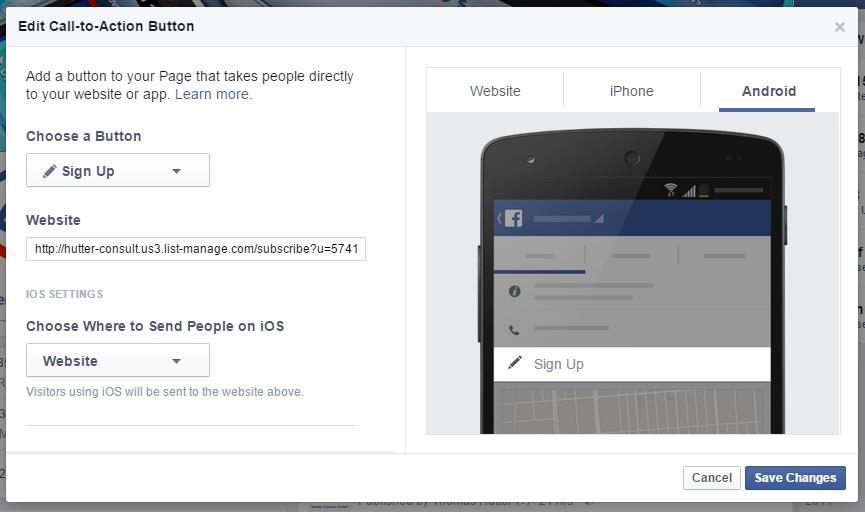 Konfiguration des Call to Action Buttons für Facebook Seiten