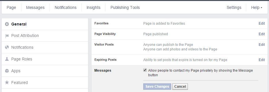 Aktivieren / Deaktivieren der Nachrichtenfunktion auf Facebook Seiten