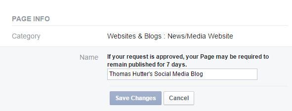 Namensänderung einer Facebook Seite - Info Bereich