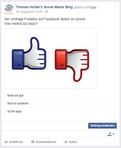 Frage in der Chronik einer Facebook Seite