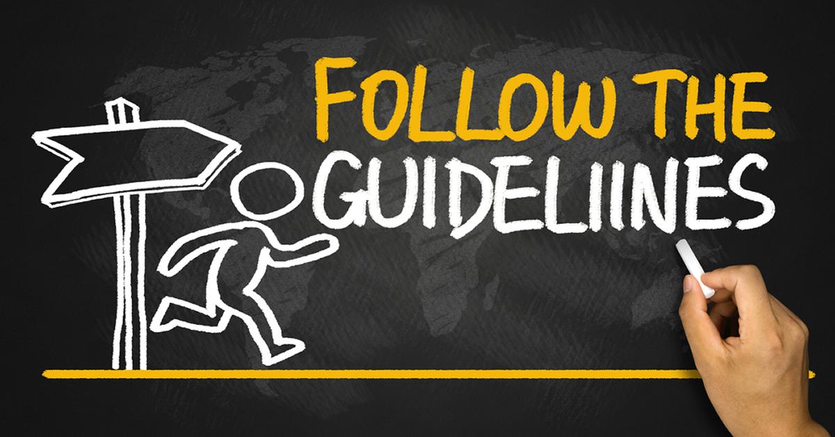 follow the guidelines concept handwritten on blackboard by shutterstock