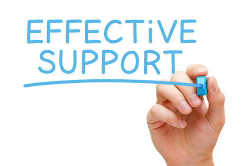 Hand writing Effective Support with blue marker on transparent wipe board by shutterstock.com