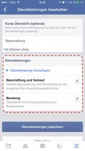 Editieren des Service-Bereichs auf mobilen Facebook Seiten (Quelle: Marc Milbert)