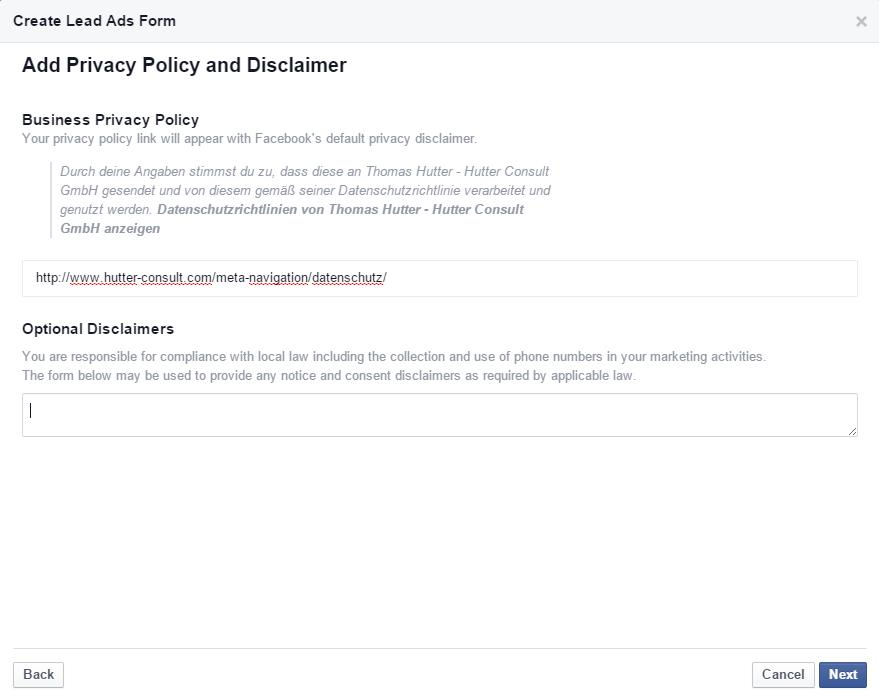 Privacy Policy und Disclaimer in Lead Ads