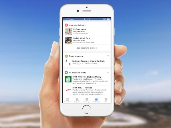 Facebook Notifications Tab mit Veranstaltungen (Quelle: Facebook)