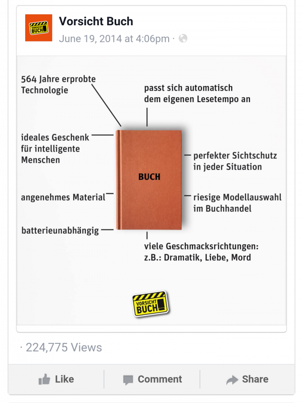 Facebook Mobile Web Screenshot mit Reichweitenzahlen/Views