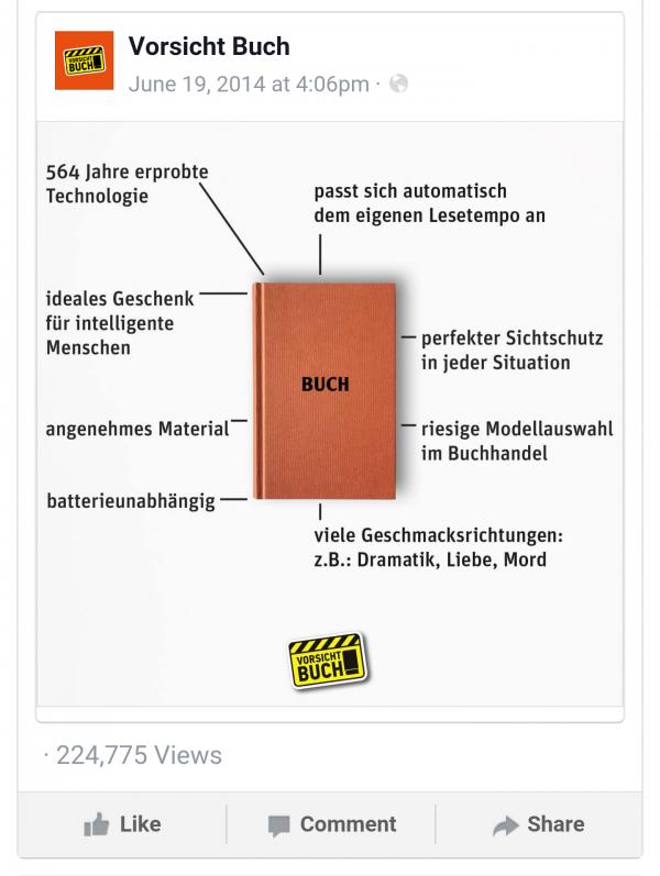 Facebook Mobile Web Screenshot mit Reichweitenzahlen/Views