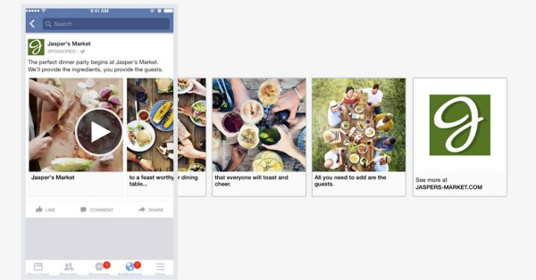 Carousel Ad mit integriertem Video (Quelle: Facebook)