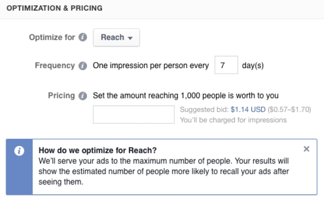 "Optimierungsvariante ""Reach"" (Quelle: Facebook)"