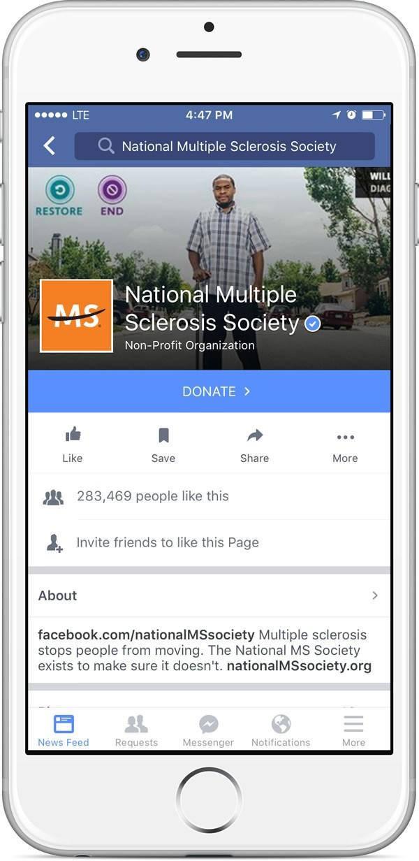 """Der """"Spenden""""-Button auf Facebook Seiten (Quelle: Facebook)"""