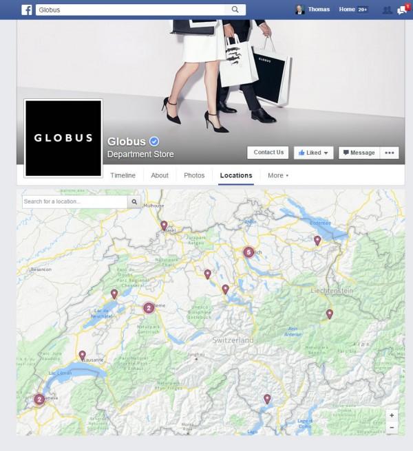 Facebook Locations Karte auf der Hauptseite (Parent)