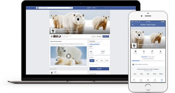 Fundraiser auf Desktop und Mobile (Quelle: Facebook)
