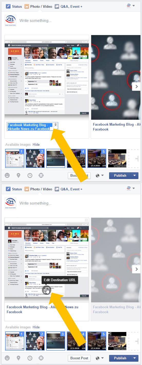 Anpassen des Textes unterhalb eines Bildes und der Ziel-URL eines Bildes