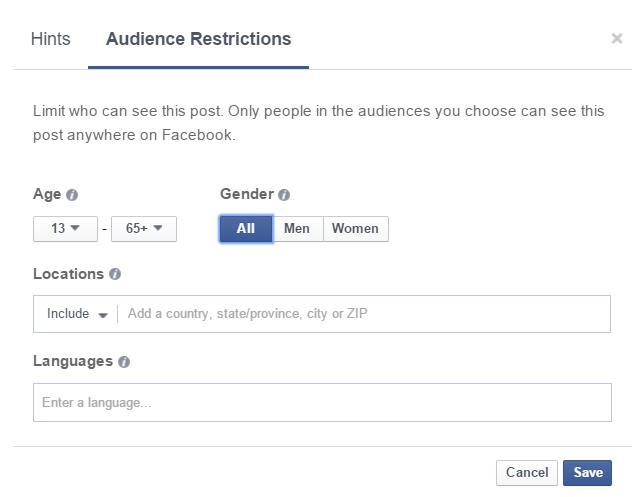 Einstellungsmöglichkeiten Post Gating (Audience Restrictions)