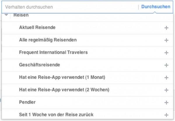 "Zielgruppen zu ""Reisen"" in Facebook"