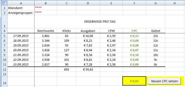 Auswertung in Excel