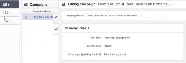 Kampagneneinstellung im Power Editor