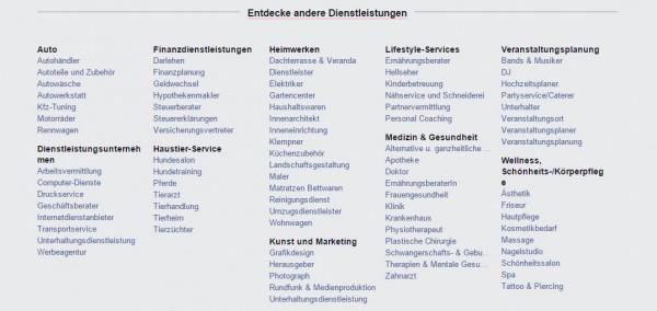 Kategorien in Facebook Services