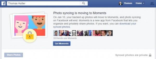 Hinweis von Facebook zur Deaktivierung der Fotosynchronisierung per 10.01.2016