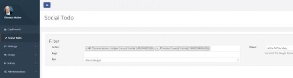 """""""Social Todo"""" in Socify erlaubt mir die Anzeige der Interaktionen von frei selektierbaren Seiten"""