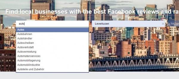 Suchmaske von Facebook Services