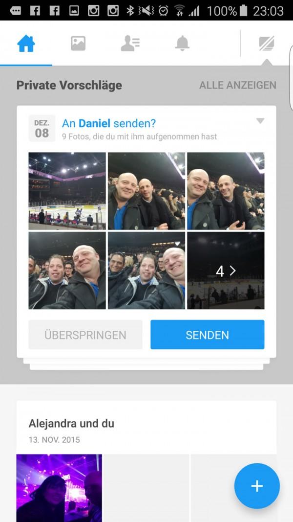 Ansicht von Moments auf einem Android