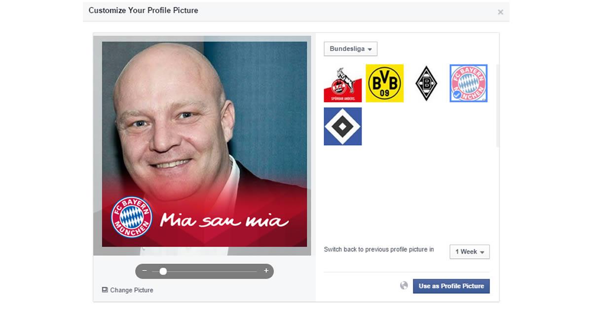 Facebook: Test mit Profilbild-Badges für Fussballvereine