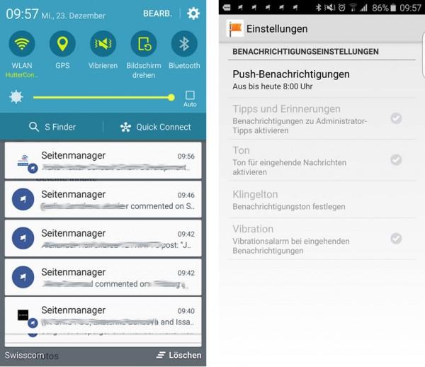 Benachrichtigungen in der Seitenmanager Applikation trotz Deaktierung